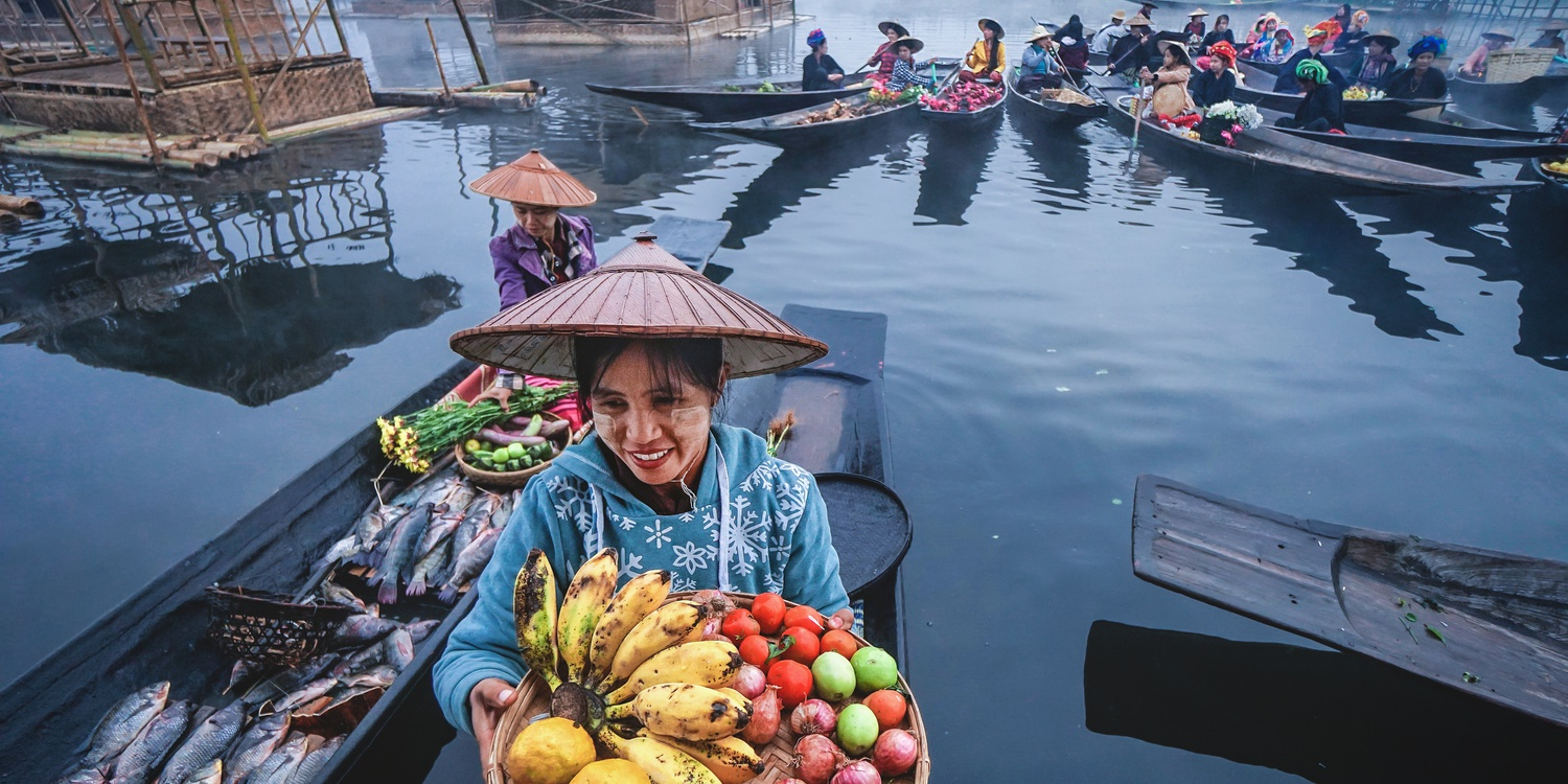 Water Floating Market in Inle